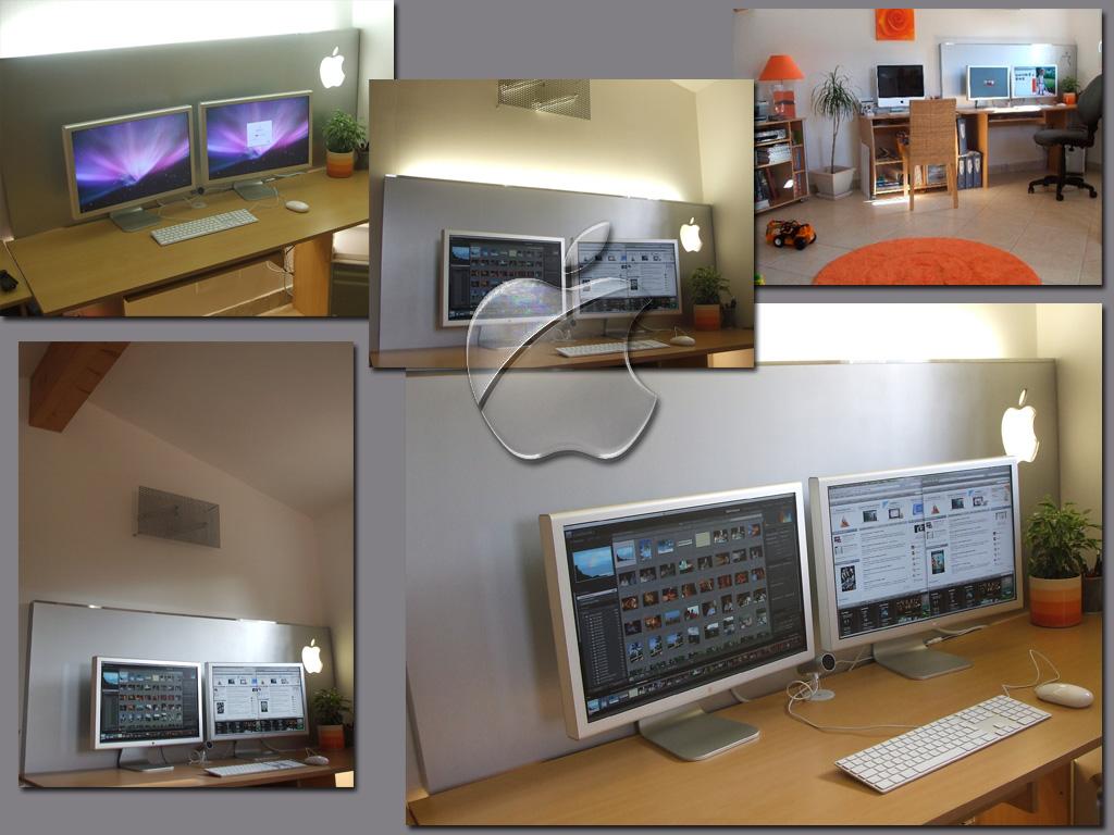 forums macbidouille galerie voir l 39 image mon bureau look apple store mais en alu. Black Bedroom Furniture Sets. Home Design Ideas